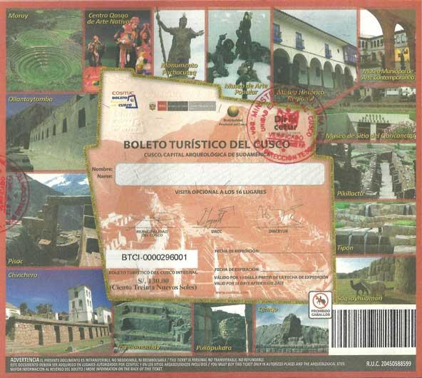 billet touristique Pérou